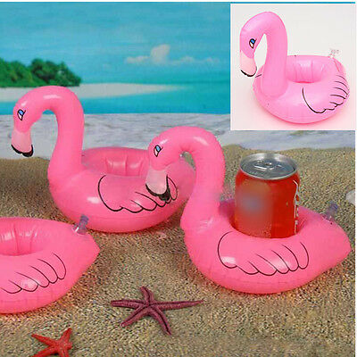 Mini Cute Flamingo Floating Inflatable Drink Can Holder Pool Bath Toys Party AU