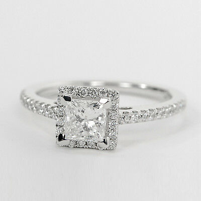 Fine Jewelry Clever 1.04ct Princess Cut Moissanite Engagement Ring 14k White Gold Rings Size O N M Diversified In Packaging Jewelry & Watches