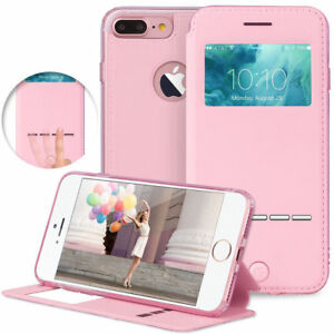 For-Apple-iPhone-7-8-7-Plus-Flip-PU-Leather-Cover-Window-View-Stand-Wallet-Case