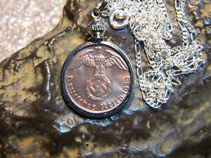 WW2-German-1-Pfennig-Third-Reich-Coin-With-Swastika-24-034-925-Chain-Pendant