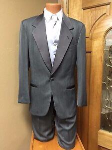 Grey Tuxedo Coat Adjustable Pants Pinstripe Steampunk Cosplay Prom Firenze Dance