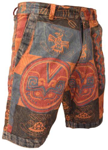 Da Uomo Stampa Etnica canapa Pantaloncini di cotone con tasche con cerniera e bottone singolo