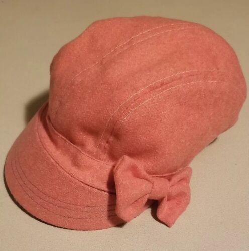 Original Vintage Girls Pink Bow Beret Hat Dusty Pi