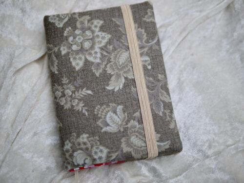 Reisetagebuch Tagebuch Hülle aus Stoff mit Notizbuch Buchhülle Blumen braun