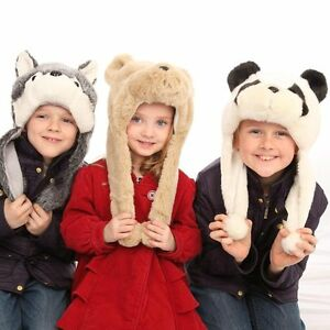 c9a426400b5 Image is loading Childrens-Fleece-Lined-Furry-Animal-Hat-Husky-Panda-
