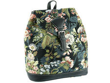 Signare Ladies Woven Tapestry Compact Rucksack / Backpack In Peony Black Design