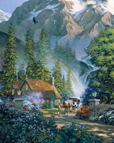 DIY Scenery Paint By Number Kit Acrylic Oil Painting On Canvas Office Home Decor