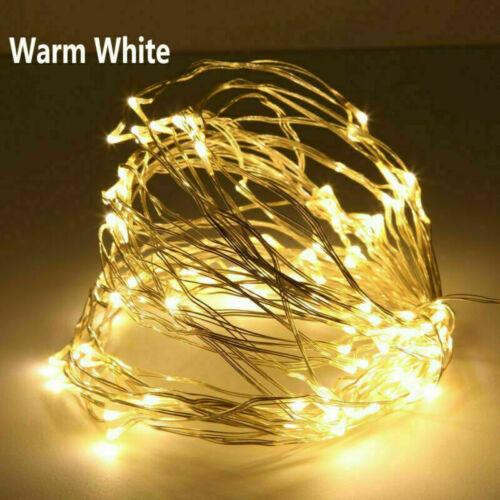 20-100 LED Battery Operated Fairy String Wedding Lights Warm White//White Xmas UK