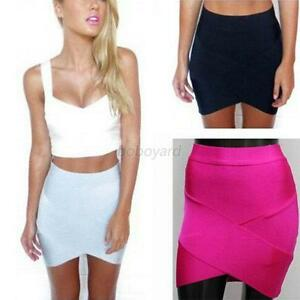Women Lady High Waist Bandage Mini Skirt Synthetic Fiber Slim ...