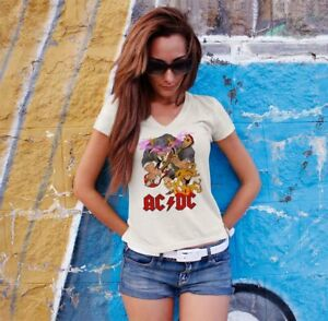 AC-DC-Women-White-T-shirt-V-Neck-ACDC-Rock-Band-Fan-Tee-Shirt