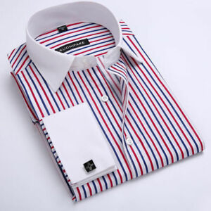 Luxury-Men-039-s-Dress-Shirts-Long-Sleeve-French-Cuff-Business-Casual-Striped-CS398