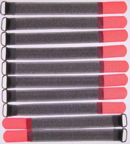 10x Kabelklettband FK 20cm x 20mm neon rot Klettband Klett Kabel Binder Band Öse