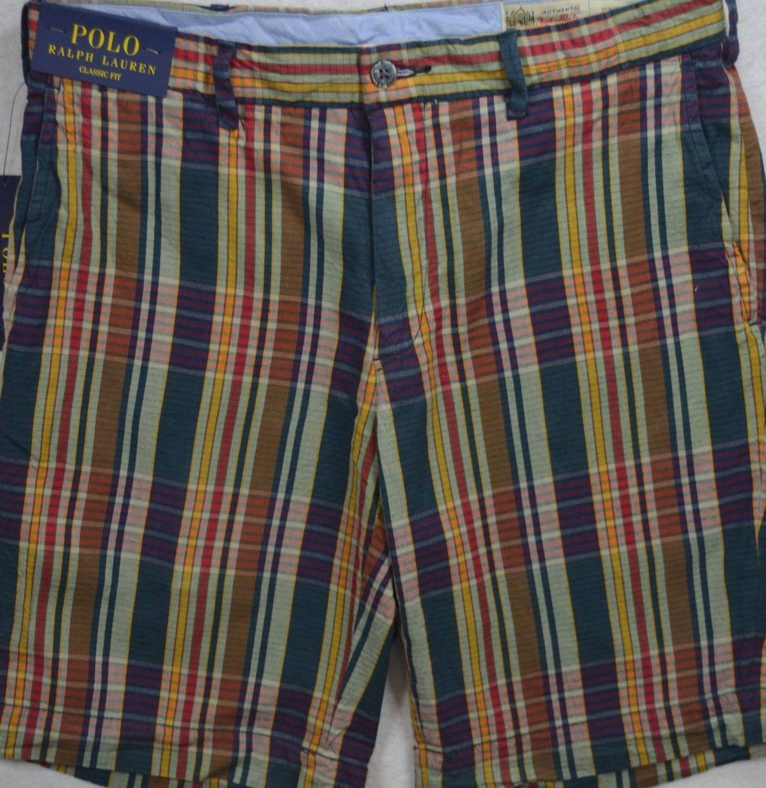 Polo Ralph Lauren Classic Fit India Madras Plaid Shorts Size 36 & 40 NWT