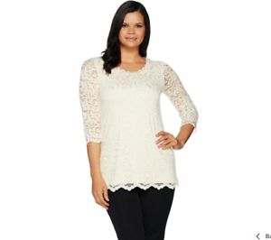 c8274a6e8f8 Isaac Mizrahi Live! Stretch Floral Scroll Lace 3/4 Sleeve Tunic Size ...