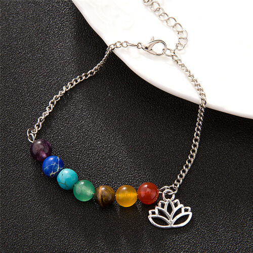 7 Chakra bunte Perlen Armband Lotus Anhänger Energie Knöchel Kette Schmuck 4H