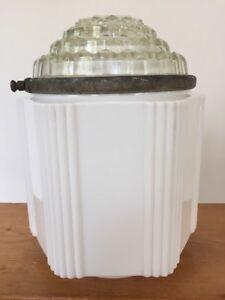 Vintage 1930 S art déco 6 verso Blanc Côtelé Verre prisme Coupe dôme en verre abat-jour