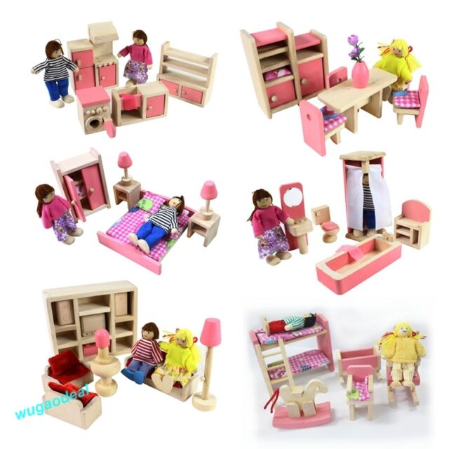 Wooden Doll House Dollhouse Furniture SET Miniature 6 Rooms Set 4/6 DOLLS
