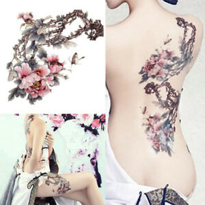 Femme Fleur Prunier Tattoo Tatouage Temporaire Autocollant Sticker