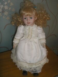 """Porcelain Doll with Stand - Victorian Dress - Blonde - Blue Eyes - 15"""" Tall"""