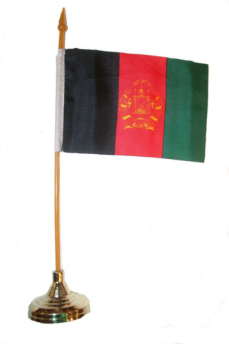 """AFGHANISTAN COUNTRY 4/"""" X 6/"""" inch stick flag with GOLD STAND on 10/"""" plastic pole"""