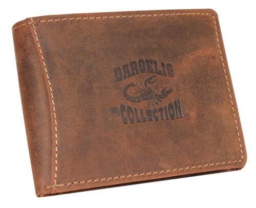 Leather Wallet Purse Purse Wallet Horizontal Format Men/'s Thin Brown