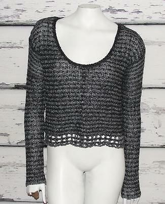 FREE PEOPLE~HEATHERED BLACK~SCOOP-NECK~CROCHET KNIT~SLOUCHY CROP SWEATER TOP~S