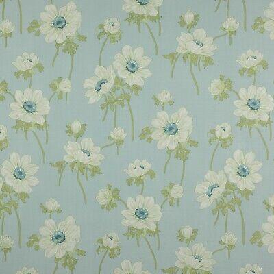 Jane Churchill White Anemones Floral Print Fabric Mayfield Aqua 2 Yd J591f 03 Ebay