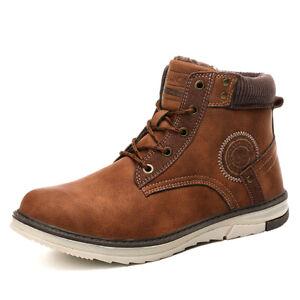 Para-Hombre-Botas-al-tobillo-casual-zapatos-para-caminar-Invierno-Calido-Nieve-De-Algodon-Moda