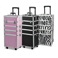 4 In1 Hairdressing Makeup Beauty Nail Case Art Box Cosmetics Trolley Train Case