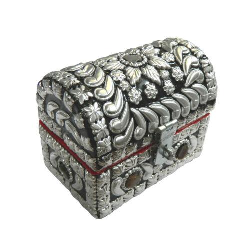 Pirates caisse argent brillant 10 x 6 x 8 cm AGATE pierres coffre de rangement caisse