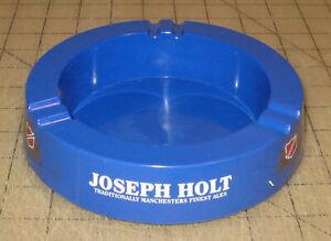 "Vintage JOSEPH HOLT Manchester's Finest Ales 6"" Diameter Blue Plastic Ashtray UK"