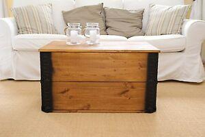 Coffre Table Basse Bois Massif De Salon Truhentisch Caisse Vintage
