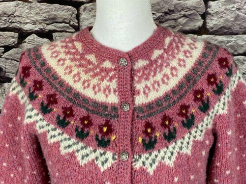 Woodstock Vintage Pink Wool Floral Fair Isle Nordi
