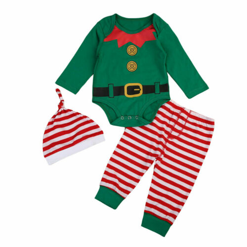 Baby Boy Girl Newborn First Christmas Clothe Romper Pant Hat Outfit 3Xpieces Set