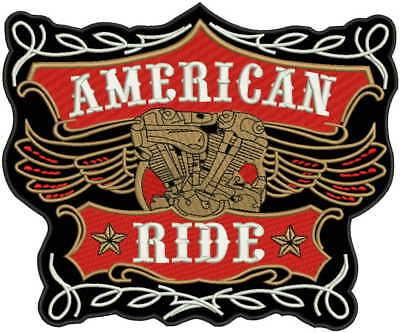 Dettagli su Grande dietro Toppa Americana Ride per Motociclista Moto Gilet Giacca Rosso