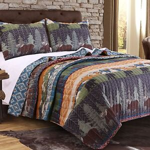 Image Is Loading Twin Quilt Set Bear Moose Lodge Wilderness Cabin