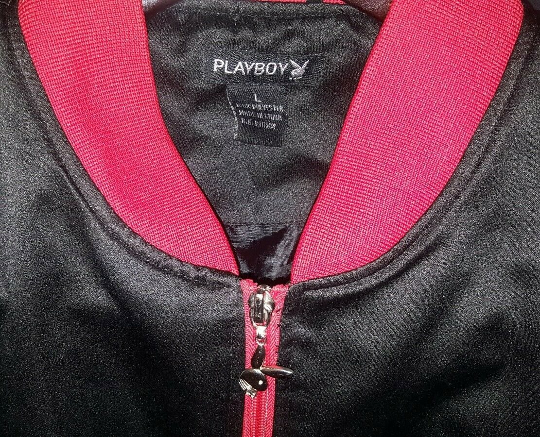 PLAYBOY BUNNY BLACK WITH RED SILK SATIN BOMBER JA… - image 2