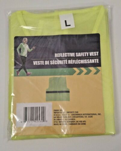 Hiking NEW  Yellow Reflective Safety Vest For Jogging Biking or Road Work Crew
