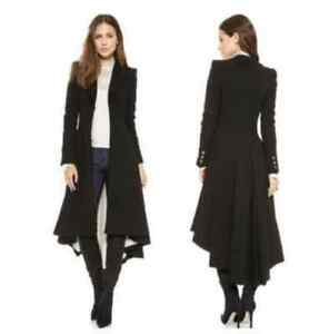 Women's Long Military Goth/Steampunk Victorian Black Trench Coat ...