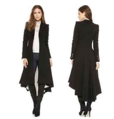Women's Long Military Goth/Steampunk Victorian Black Trench Coat Jacket Buttons