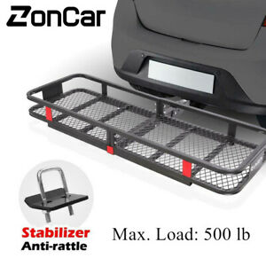500 lbs Foldable Hitch Cargo Carrier Mounted Basket Luggage Rack w/ Stabilizer