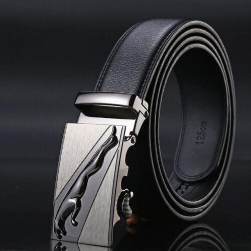 Mens Business Leather Jaguar Belt Fashion Buckle Style Automatic Strap Waistband
