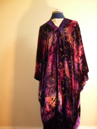 Velvet devore unstructured jacket Size to 28 Shades of purple and pink NEW