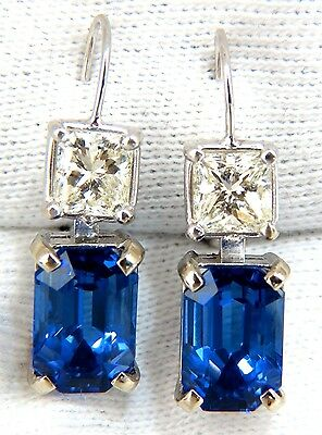 ❏$36000 11.60CT NATURAL BRILLIANT EMERALD CUT TANZANITE DIAMOND DANGLE EARRINGS❏