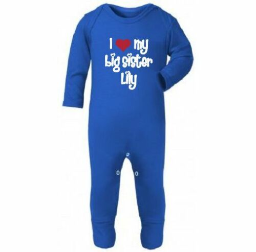 I love my big sister personalised your baby/'s name romper sleepsuit babygrow