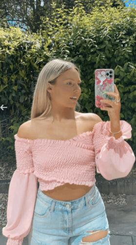 Bébé Rose Bardot Puff Manche Haut Taille Unique sizle s/'adapte 8-12 Free P /& p