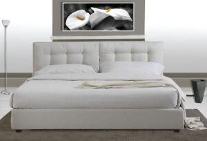 Letto Matrimoniale Bianco Moderno.Letto Matrimoniale In Ecopelle Bianco Moderno A Due Piazze Con