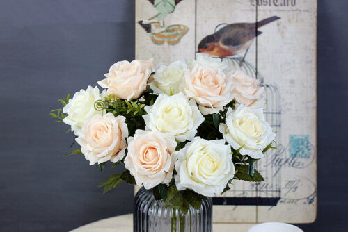Artificial Roses Flowers Fake Silk Bridal Bouquets Wedding Party Home Decoration