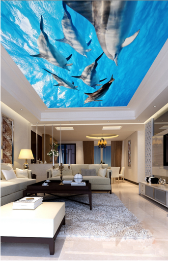 3D Dolphin Group 70 Ceiling Wall Paper Print Wall Indoor Wall Murals CA Carly