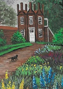 ACEO-PRINT-OF-PAINTING-RYTA-BLACK-CAT-BRITISH-LANDSCAPE-SPRING-FLOWERS-GARDEN